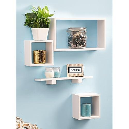 Artesia Wall Shelf with 4 Shelves (White)
