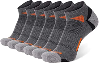 COOVAN Mens Ankle Athletic Socks Low Cut Cushioned Breathable Running Sports Socks 6 Pack