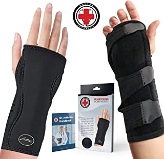 Doctor Developed Premium Carpal Tunnel Night Wrist Brace & Support [Single] (with Splint) & Doctor Written Handbook - Fully Adjustable with Comfort Padding & Shaping