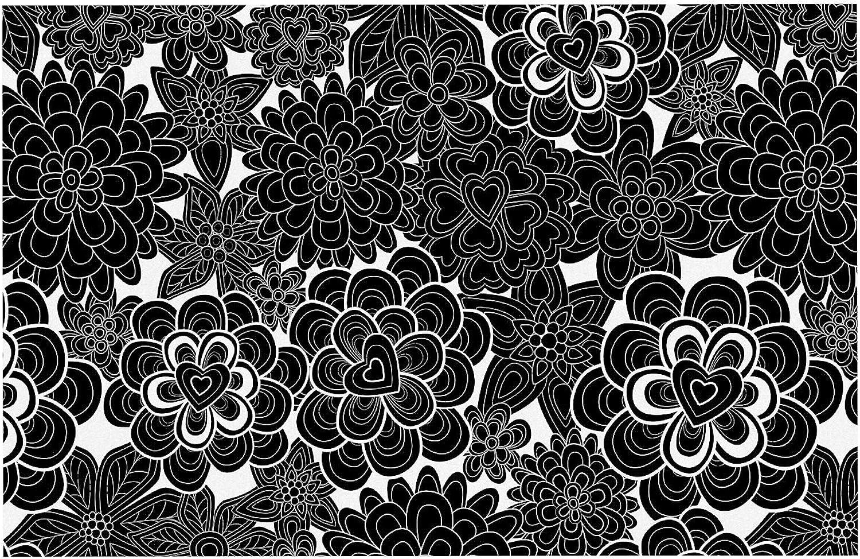 KESS InHouse JG1054ADM02 Julia Grifol Flowers in White & Black Black White Dog Place Mat, 24  x 15