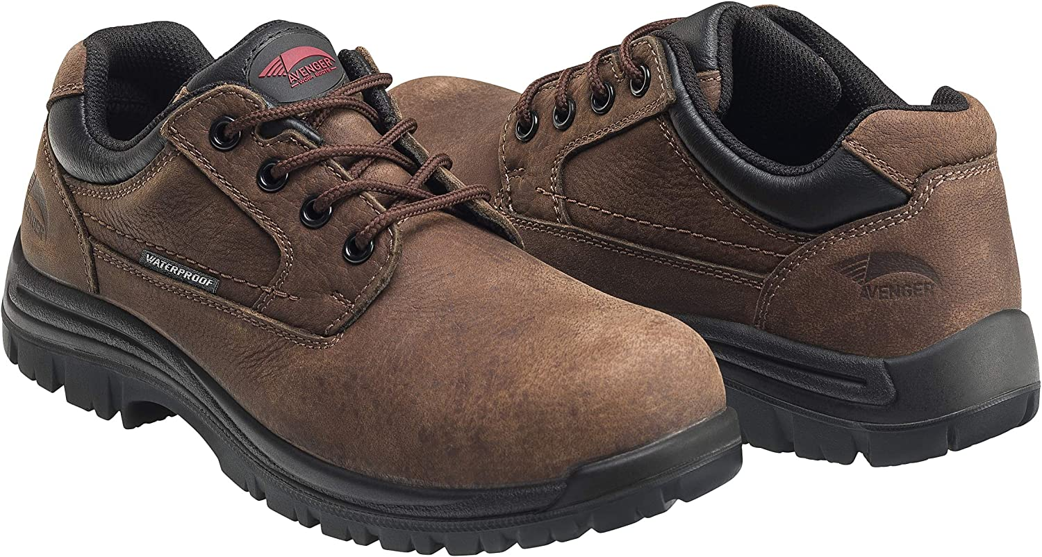 Avenger Work Boots Foreman A7118 Men's Comp Toe EH Waterproof Oxford Work Shoes, 12 W