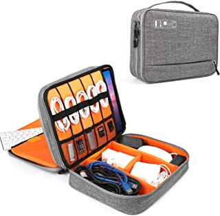 Electronics Organizer, Vivefox Double Layer Travel Cable Organizer Electronic Accessories Storage Bag for Cables, E-Book Kindle, Earphone Flash Hard Drive, 12-inch MacBook, iPad -(Gray)