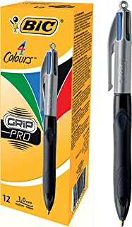 BIC 8922931 4 Colours Grip Pro Retractable Ball Pen Medium Point (1.0 mm) - Box of 12 Pens