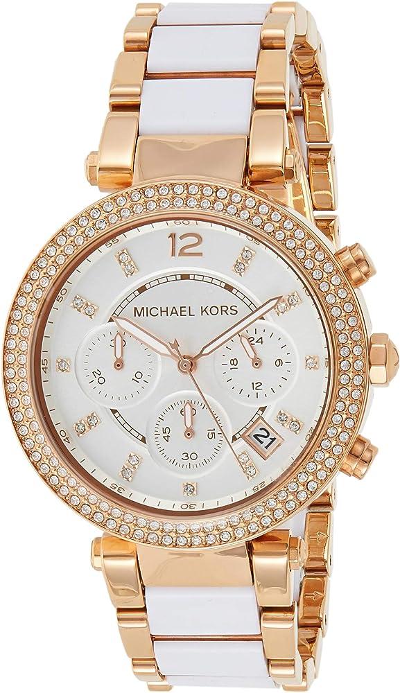 Michael Kors, orologio, cronografo per donna,  In Acciaio Placcato Rose Gold Ip MK5774