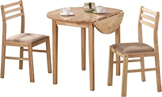 3-piece Dining Set with Drop Leaf Beige and Natural