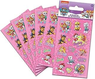 Paper Projects 01.70.15.047 Psi Patrol Różowe naklejki na torby (sześć arkuszy), 12,5 cm x 7,5 cm