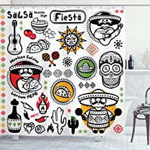 Ambesonne Mexican Decorations Shower Curtain by, Latino Culture Dead Sugar Skull Head Poncho Cuisine Salsa Fiesta Artwork, Fabric Bathroom Decor Set with Hooks, 70 Inches, Multi
