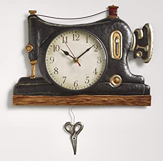 The Lakeside Collection Retro Sewing Machine Pendulum Wall Clock