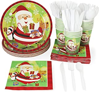 Christmas Party Supplies – Serves 24 – Includes Plates, Knives, Spoons, Forks, Cups and Napkins. Perfect Xmas Party Pack for Santa Christmas Themed Parties.