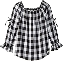 Open Sleeve Challis Gingham Top (Little Kids)