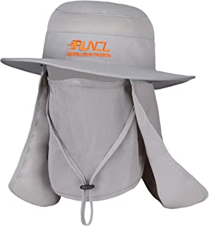 RUNCL Sun Cap, Fishing Hat Sun Protection, Bucket Hat - Wide Brim, Breathable Face Mask, Removable Neck Flap, Adjustable Chin Drawstring - Fishing Hiking Cycling Traveling Landscaping Mowing