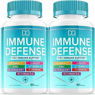 7 in 1 Immune Defense Support, Immunity Vitamins Supplement Booster with Zinc 50mg, Vitamin C Elderberry Vit D3 5000 IU, T...