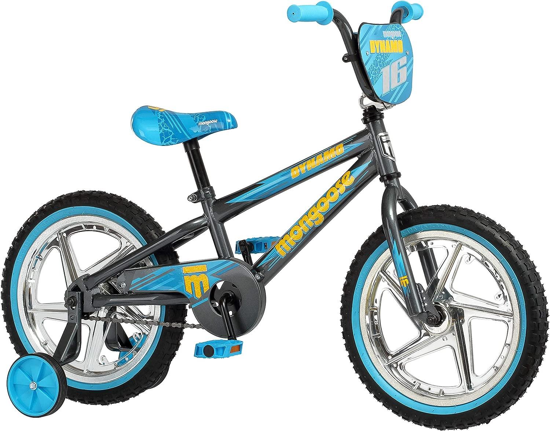 お子様が楽しくエキサイティングに。クールで目を引き、安全に走行できるダイナモボーイズサイドウォークバイク。16インチホイール、取り外し可能なトレーニングホイール付き。グレー/ブルー。ギフトに最適。