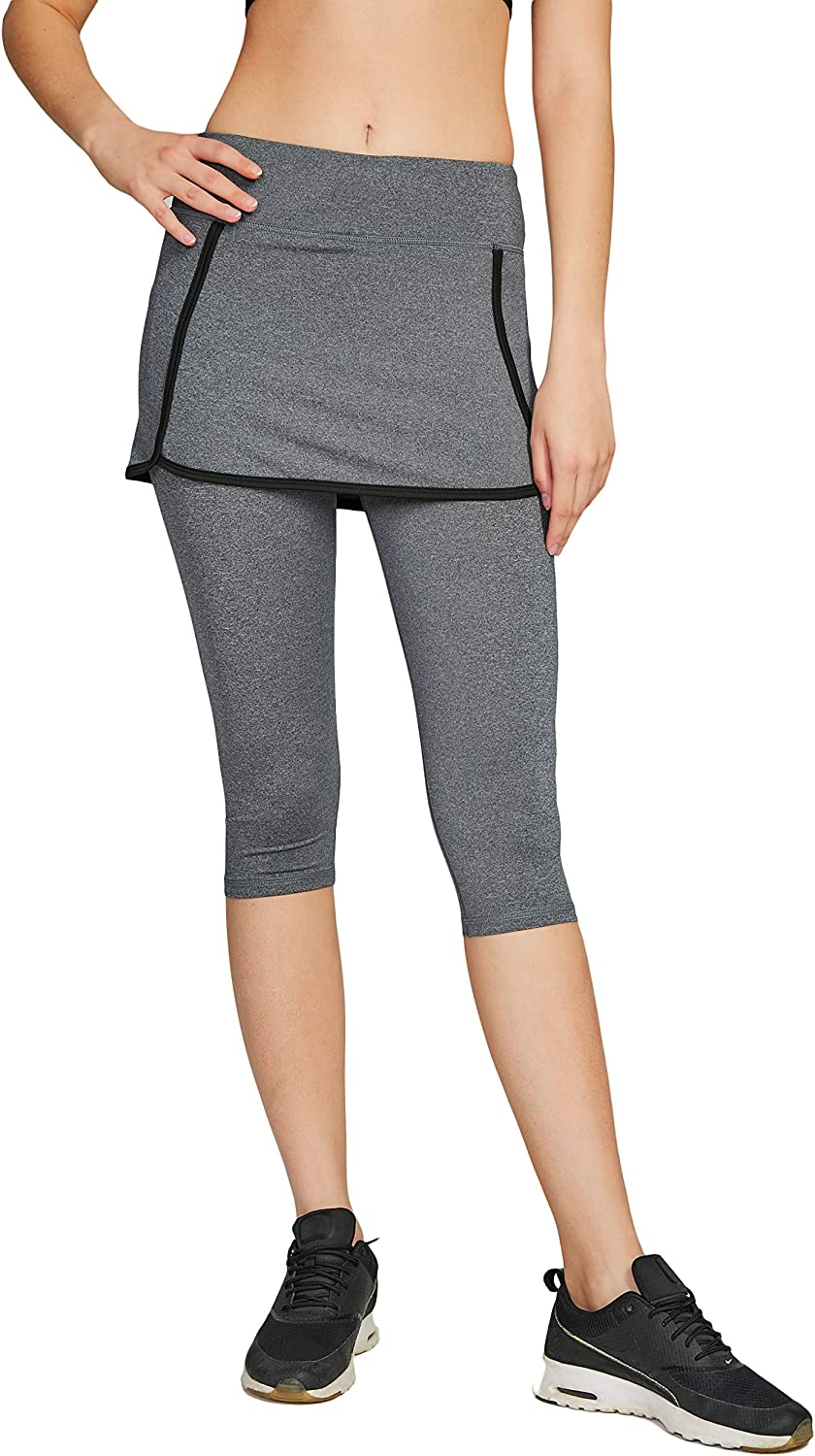 Cityoung Women's Athletic Capris Tennis Skirt with Leggings