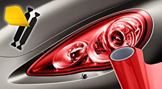 VViViD Extra-Wide Headlight Taillight Vinyl Wet Tint Wrap 16 Inch x 48 Inch Roll Including Yellow Detailer Squeegee & 2X Black Felt Edge Decals (Red)