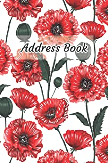 Address Book: Red Flower Design - Keep Your Important Contacts in The One Organizer Name, Addresses, Email, Phone Numbers,...