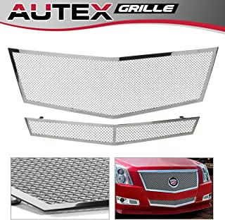 AUTEX Chrome Polished Stainless Steel Upper + Lower Bumper Mesh Grille Combo Insert Grill A77768T Compatible With Cadillac CTS (Not for CTS-V) 2008-2010