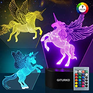 GITURKD Unicorn Night Light - 3D Led Illusion Lamp Three Pattern and 16 Color Change Decor Lamp with Remote Control for Girls, Gifts for Kids
