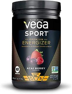 Vega Sport Premium Energizer, Acai Berry Pre-Workout Energy Drink - Certified Vegan, Vegetarian, Gluten Free, Dairy Free, Soy Free, Non GMO, Natural Pre Workout Powder (25 Servings, 16.2 Oz)