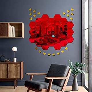 Best Decor 28 Hexagon Red with 20 Butterfly Golden Code 310 Acrylic Mirror 3D Wall Sticker Decoration for Kids Room/Living...