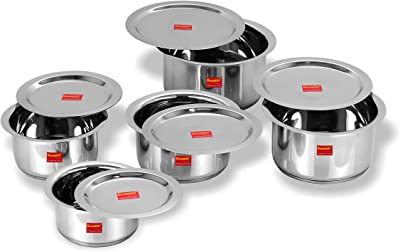 Sumeet 5 Pcs Stainless Steel Induction Bottom (Encapsulated Bottom) Induction & Gas Stove Friendly Container Set/Tope/Cookware Set With Lids Size No.10 to No.14 (1 Ltr to 2.8Ltr)