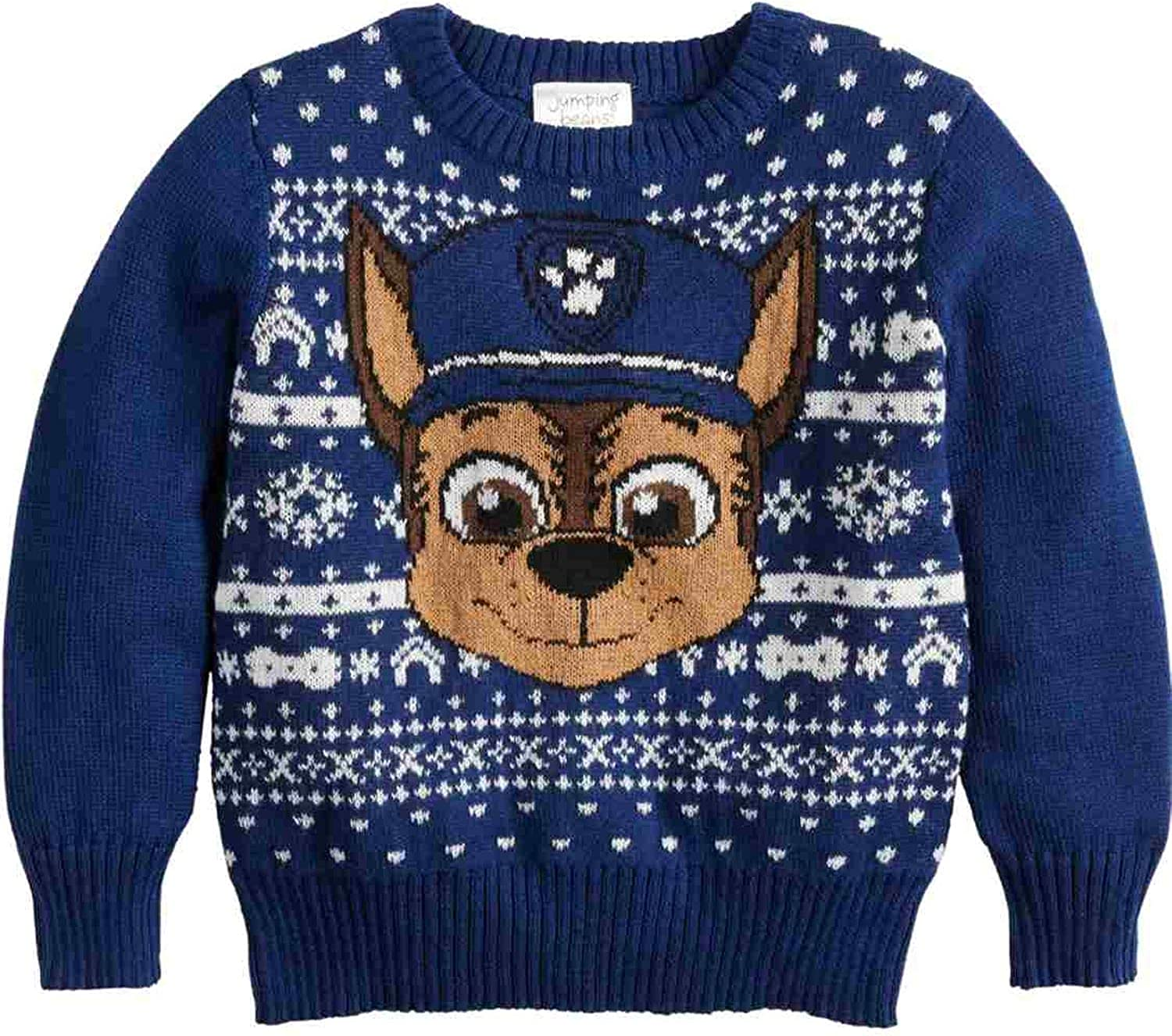 Toddler Boys Paw Patrol Holiday Pullover Sweater - Chase or Marshall (Blue Chase, 2T)