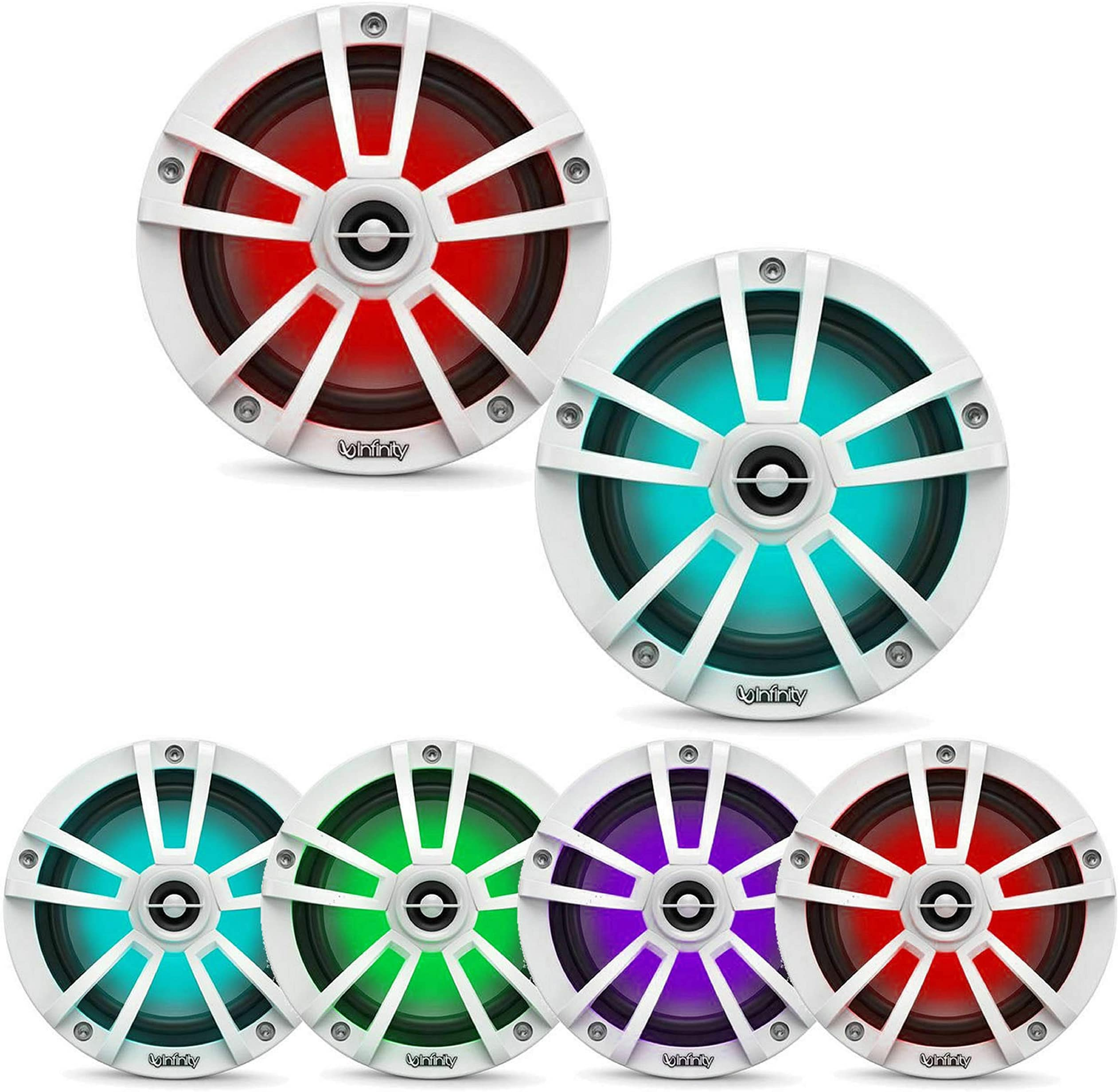 "Infinity Mobile Marine Performance Series 6.5"" 2 way speaker with RGB lighting - White"