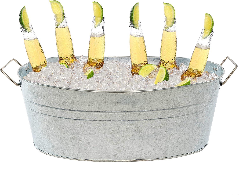 Simple Elements 2.5 Gallon Galvanized Beverage Tub   Multifunctional Ice Bucket   Metal Bucket   Beverage Tub   Ice Tub   1.72 Lbs   15.25