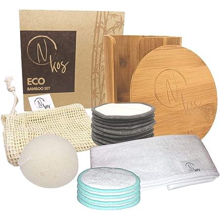 N KOS | Eco Bamboo Set | 14 Dischetti Struccanti Lavabili + 1 Spugna Konjac + 1 Fascia per Capelli + 1 Custodia per Bucato + 1 Cofanetto Porta Dischetti |