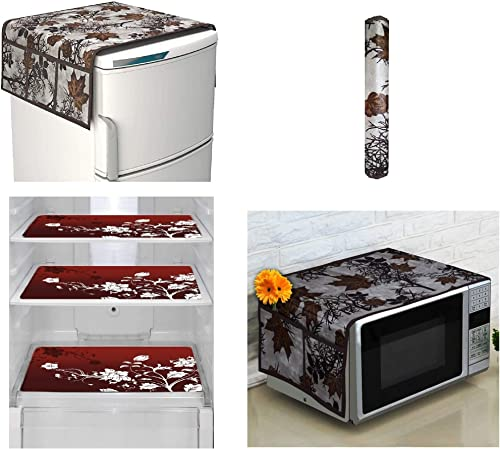 Goel Home Decor Exclusive Decorative Appliance Covers Combo Set of 1Pc Refrigerator Top Cover 1Pc Handle Cover 3Pc Refrigerator Drawer Mats 1Pc Microwave Oven Cover Brown Flower Pack of 6