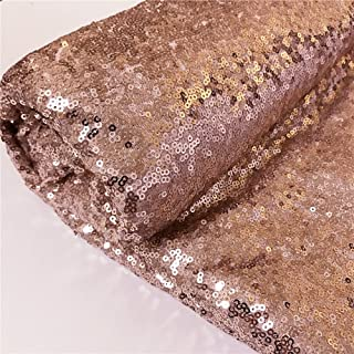 TRLYC 9 Feet 3 Yards Rose Gold Sequin Fabric, By the Yard, Sequin Fabric, Linen, Sequin Tablecloth, Table Runner