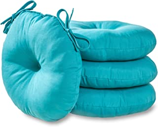 Greendale Home Fashions 15 in. Round Outdoor Bistro Chair Cushion (set of 4), Teal