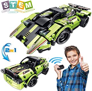 AOKESI STEM Building Toys for Kids with 2-in-1 Remote Control Racing Car Put Together Engineering Kits Race Car Building Blocks and Off-Road Best Gift for 6, 7,8 and 9+Year Old Boys and Girls [335PCS]
