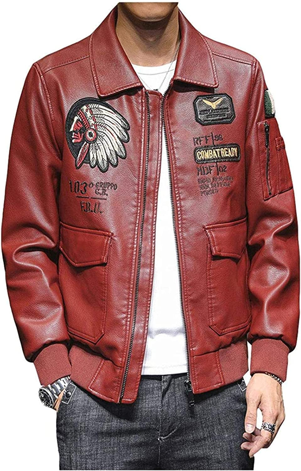 Men's Classic Faux Leather Flight Fashion Down Jacket Sale price Colla Excellent Turn