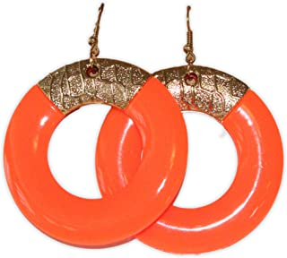 Neon Nation Colored Round Earring w/Gold Accents 1980s 80s Costume Party