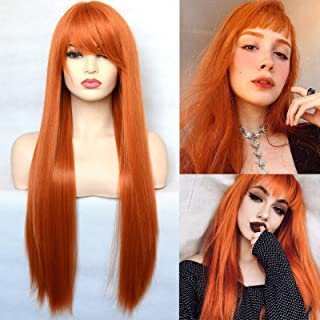 BLUPLE Long Straight Orange Hair Wigs Natural Heat Resistant Synthetic Hair Wigs for Cosplay Daily Wear (22 inches, No Lac...