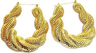 Hip Hop Large Puffy Twist Gold Basketball Wives Door Knocker Bamboo Hoop Earring