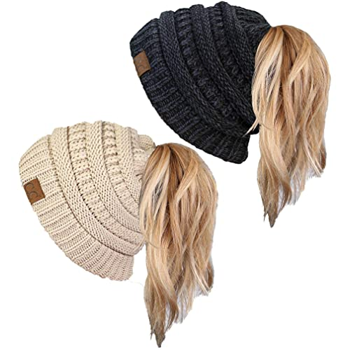 Funky Junque Ponytail Messy Bun BeanieTail Women s Beanie Solid Ribbed Hat  Cap d697be1f28f