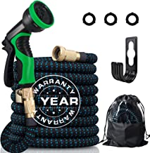 """50FT Expandable Garden Hose, Extra Strength 3750D Expanding Water Hose with Multi-function Spray Nozzle & 3/4"""" Solid Brass..."""
