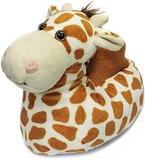 Fuzzy Animal Slippers for Toddler and Little Kids, Moose Giraffe Dog Slippers for Boys Girls