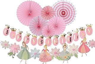 Princess Birthday Decoration | Princess Birthday Banner | Pink Happy Birthday Banner | Pink and Gold Birthday Party Decorations | Princess & Flower shape birthday party banner | Princess Home & Cab shape Birthday party banner