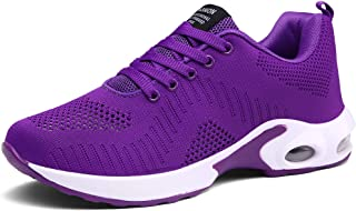 CASMAG Women's Sneakers Outdoor Walking Breathable Athletic air Cushion Sport Shoe Purple 10 M US