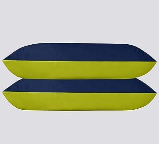 Urban Basics Soft Microfibre Pillow, 16'x24' Inch, Navy Blue & Neon Green, Set of 2 (PIL07_2)