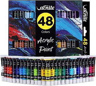VACNITE Peinture Acrylique 48 Tubes Imperméable 12ml / 0.4 oz. par Tube pour Peinture Papier Toile Bois Céramique Tissu et...