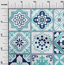oneOone Velvet Aqua Blue Fabric Floral & Tiles Moroccan Craft Projects Decor Fabric Printed by The Yard 58 Inch Wide