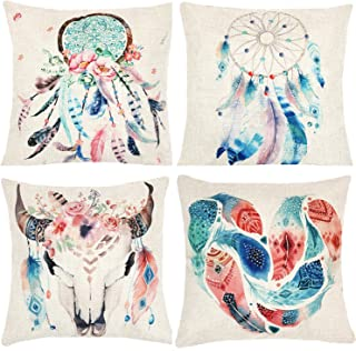 Munzong Dream Catcher Decorative Throw Pillow Covers 18 x 18 Inch Bohemian Style, Set of 4 Cotton Linen Floral Square Cushion Pillowcases for Car Bed,Boho Theme Birthday Wedding Party Home Decoration
