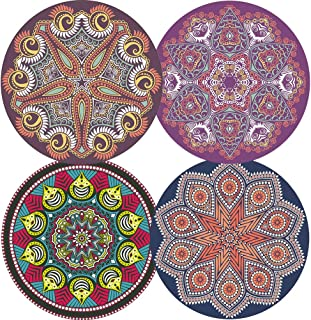 Coasters for Drinks Absorbent Stone Coaster Set,Ceramic Cup Holder Coasters Coffee Mug Place Mats with Cork Base,Prevent Furniture from Dirty and Scratched,Ideal Gift Home Decor|Mandala Style Set of 4