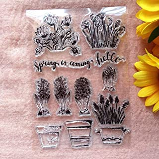 GAWEI Clear Stamps for Scrapbooking and Card Making Words Spring Coming Botanic Flowers Transparent Stamps Silicone Stamps...