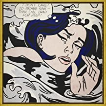 Berkin Arts Framed Roy Lichtenstein Giclee Canvas Print Paintings Poster Reproduction (Drowning Girl)