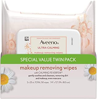 Aveeno Ultra-Calming Makeup Removing Facial Cleansing Wipes with Calming Feverfew Extract, Oil-Free Soothing Face Wipes fo...